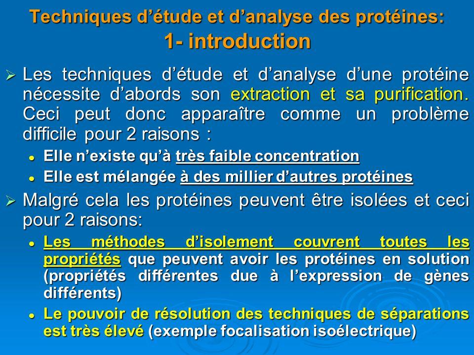 Techniques détude et danalyse des protéines: 1- introduction Les techniques détude et danalyse dune protéine nécessite dabords son extraction et sa pu