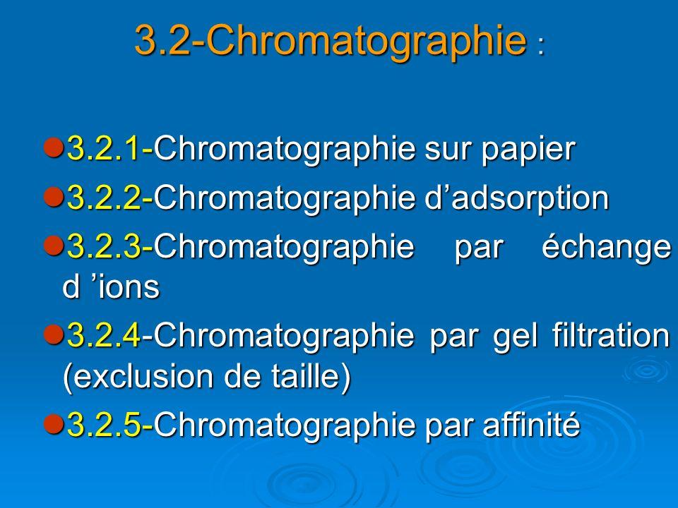 3.2-Chromatographie : 3.2.1-Chromatographie sur papier 3.2.1-Chromatographie sur papier 3.2.2-Chromatographie dadsorption 3.2.2-Chromatographie dadsor