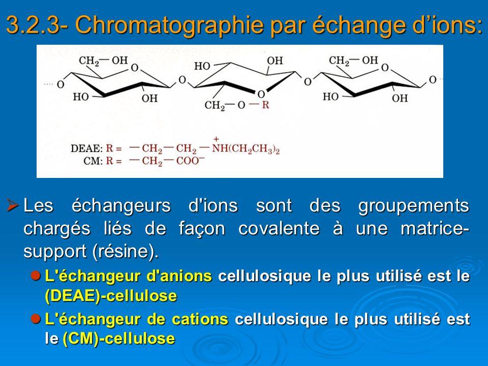 Les échangeurs d'ions sont des groupements chargés liés de façon covalente à une matrice- support (résine). Les échangeurs d'ions sont des groupements