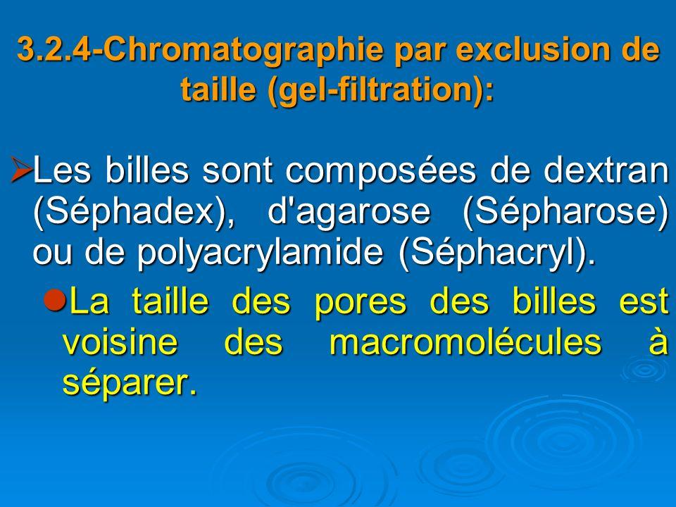 Les billes sont composées de dextran (Séphadex), d'agarose (Sépharose) ou de polyacrylamide (Séphacryl). Les billes sont composées de dextran (Séphade