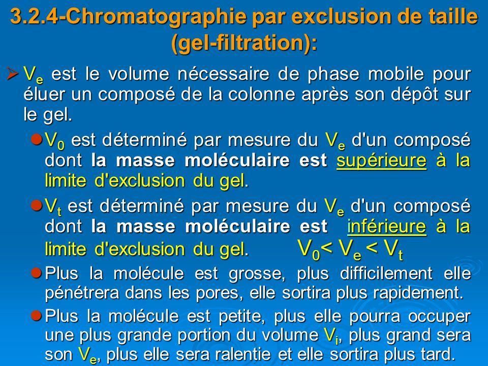 3.2.4-Chromatographie par exclusion de taille (gel-filtration): V e est le volume nécessaire de phase mobile pour éluer un composé de la colonne après