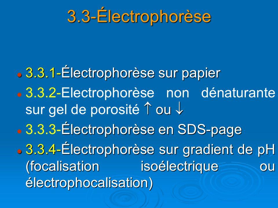 3.3-Électrophorèse 3.3.1-Électrophorèse sur papier 3.3.1-Électrophorèse sur papier ou 3.3.2-Electrophorèse non dénaturante sur gel de porosité ou Élec
