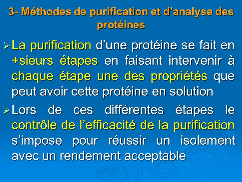 3- Méthodes de purification et danalyse des protéines La purification dune protéine se fait en +sieurs étapes en faisant intervenir à chaque étape une