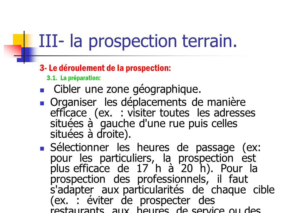 III- la prospection terrain. 2- Les conditions de réussite : La prospection non annoncée est possible sous certaines conditions: le produit proposé es