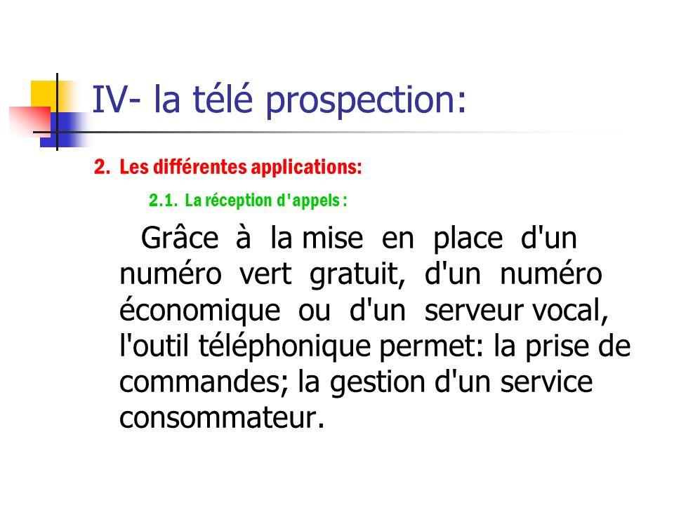 IV- la télé prospection: 1. L'analyse des caractéristiques : Le téléphone est un outil universel, facile à utiliser et interactif.