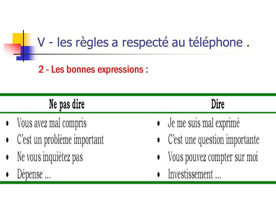 V - les règles a respecté au téléphone. 1 - Les bonnes attitudes : Sourire: cela s'entend au téléphone; contrôler le débit de sa voix et rester calme;