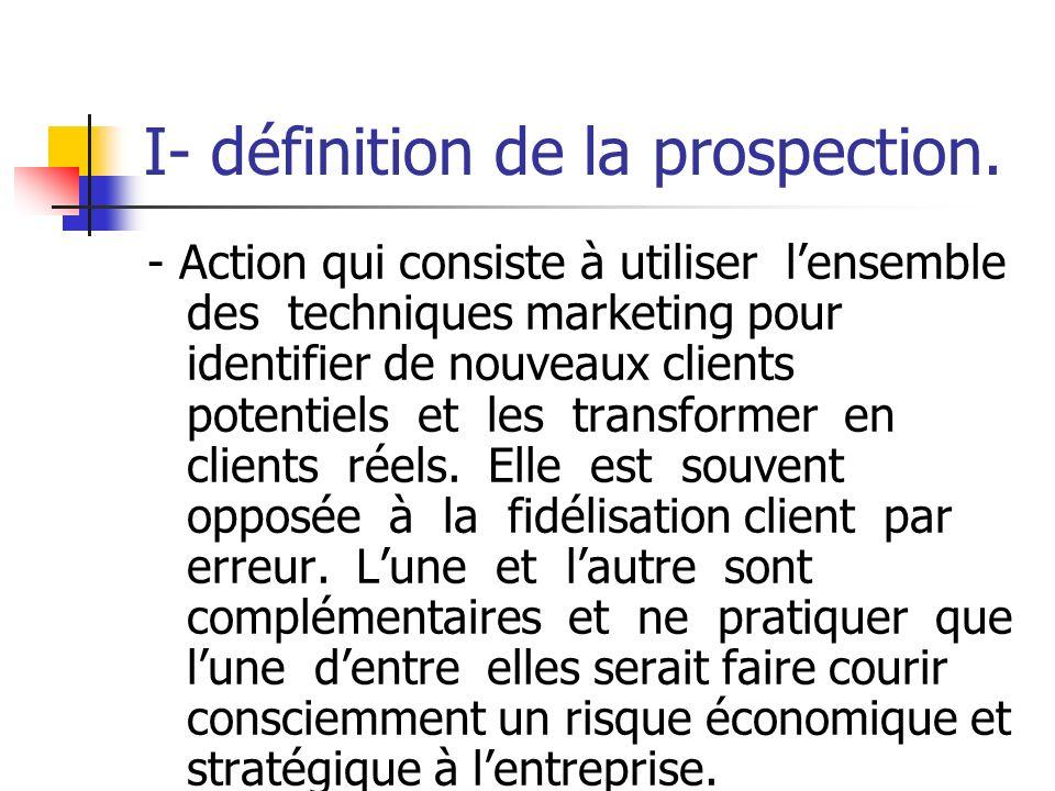 LA PROSPECTION I- définition de la prospection. II- objectifs cible et supports de prospection. III- la prospection terrain. IV- la télé prospection V