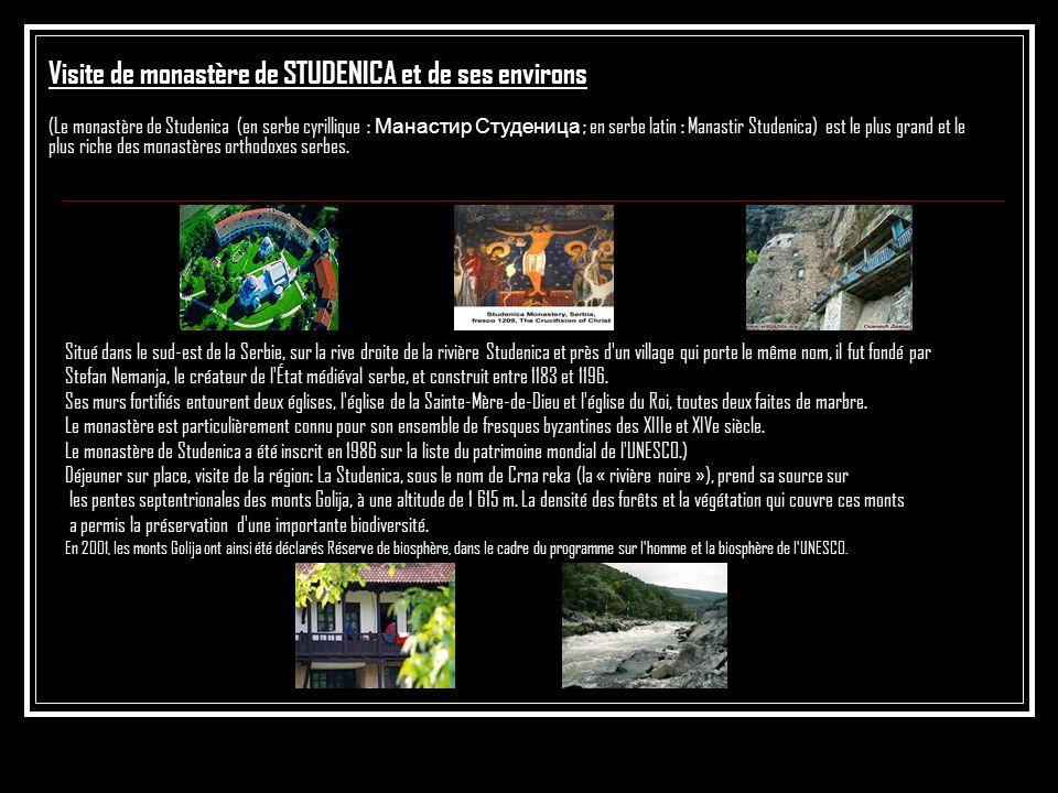 Visite de monastère de STUDENICA et de ses environs (Le monastère de Studenica (en serbe cyrillique : Манастир Студеница ; en serbe latin : Manastir S