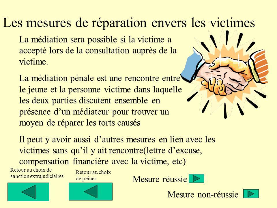 Les mesures de réparation envers les victimes La médiation sera possible si la victime a accepté lors de la consultation auprès de la victime. La médi