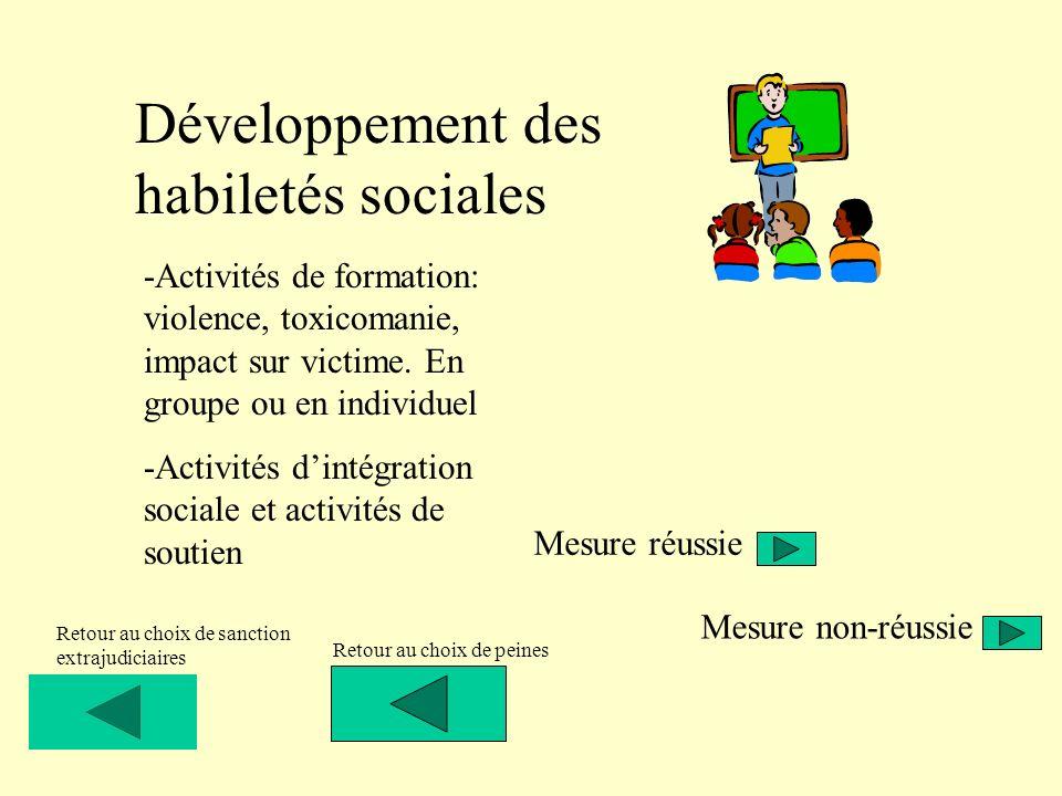 Développement des habiletés sociales -Activités de formation: violence, toxicomanie, impact sur victime. En groupe ou en individuel -Activités dintégr