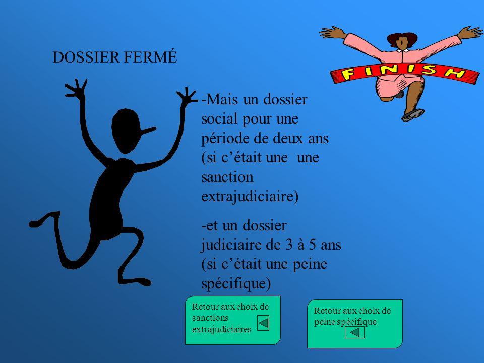 DOSSIER FERMÉ -Mais un dossier social pour une période de deux ans (si cétait une une sanction extrajudiciaire) -et un dossier judiciaire de 3 à 5 ans