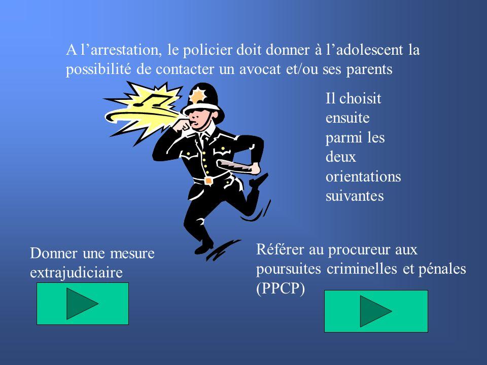 A larrestation, le policier doit donner à ladolescent la possibilité de contacter un avocat et/ou ses parents Il choisit ensuite parmi les deux orient