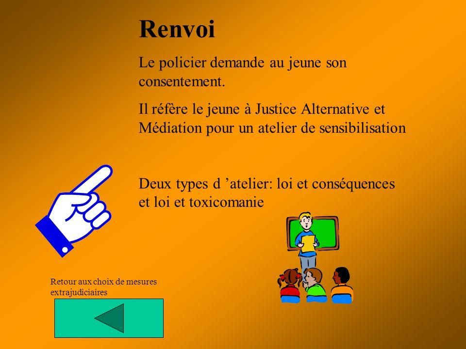 Renvoi Le policier demande au jeune son consentement. Il réfère le jeune à Justice Alternative et Médiation pour un atelier de sensibilisation Deux ty