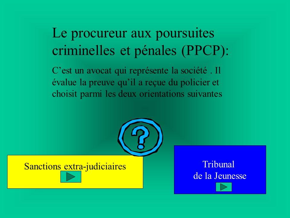 Le procureur aux poursuites criminelles et pénales (PPCP): Cest un avocat qui représente la société. Il évalue la preuve quil a reçue du policier et c