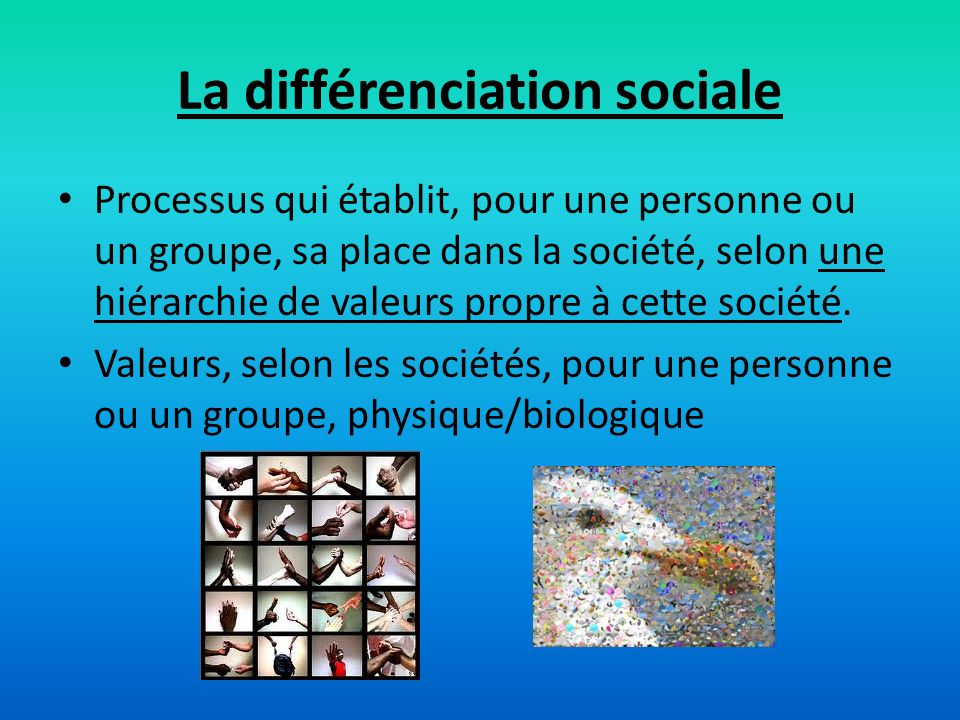 La différenciation sociale Processus qui établit, pour une personne ou un groupe, sa place dans la société, selon une hiérarchie de valeurs propre à c