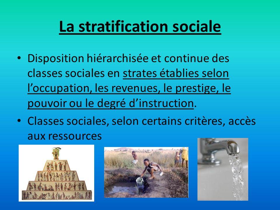 La stratification sociale Disposition hiérarchisée et continue des classes sociales en strates établies selon loccupation, les revenues, le prestige,