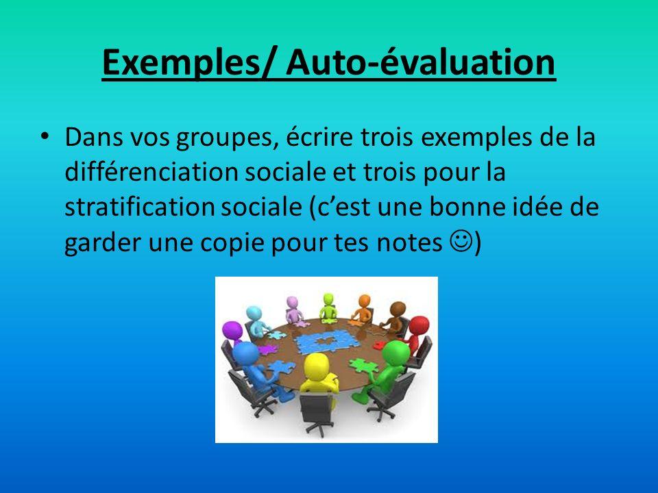 Exemples/ Auto-évaluation Dans vos groupes, écrire trois exemples de la différenciation sociale et trois pour la stratification sociale (cest une bonn