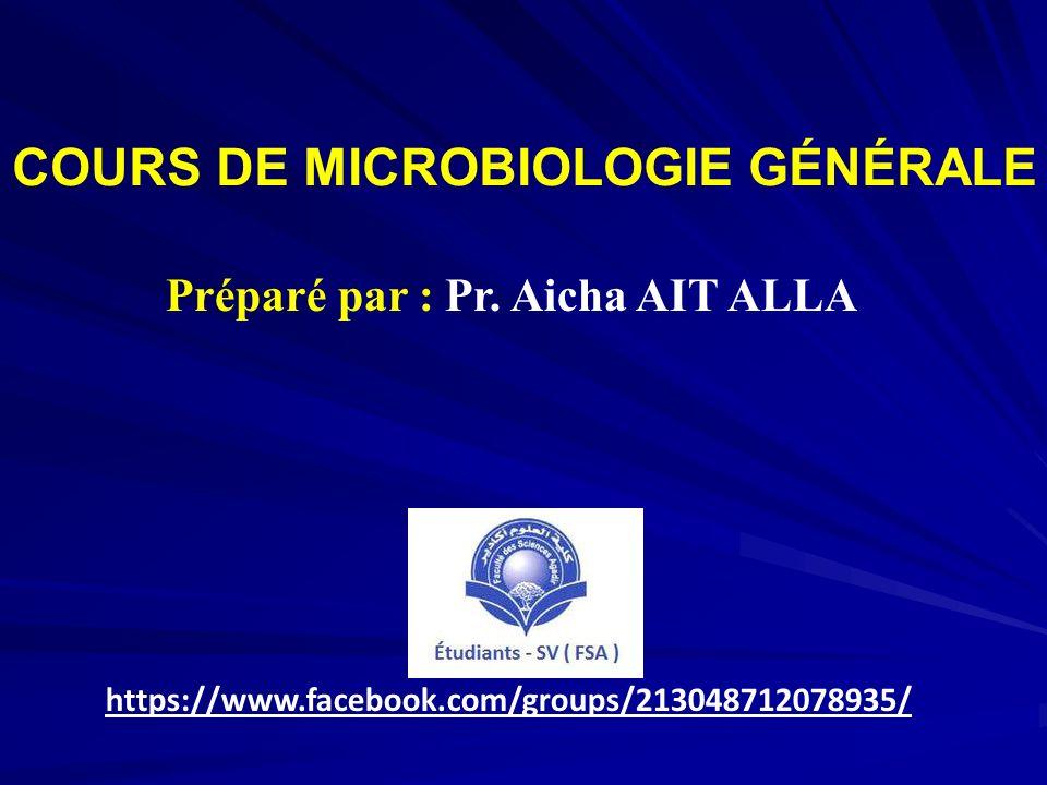 COURS DE MICROBIOLOGIE GÉNÉRALE Préparé par : Pr. Aicha AIT ALLA https://www.facebook.com/groups/213048712078935/
