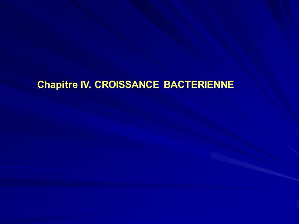 Chapitre IV. CROISSANCE BACTERIENNE