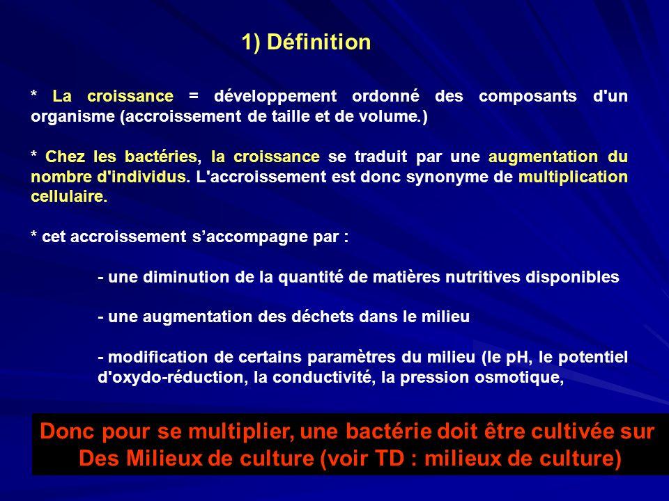 * La croissance = développement ordonné des composants d'un organisme (accroissement de taille et de volume.) * Chez les bactéries, la croissance se t