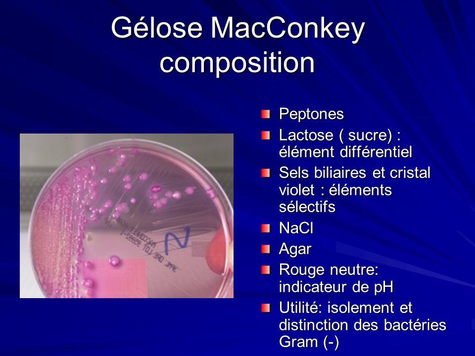Gélose MacConkey composition Peptones Lactose ( sucre) : élément différentiel Sels biliaires et cristal violet : éléments sélectifs NaCl Agar Rouge ne
