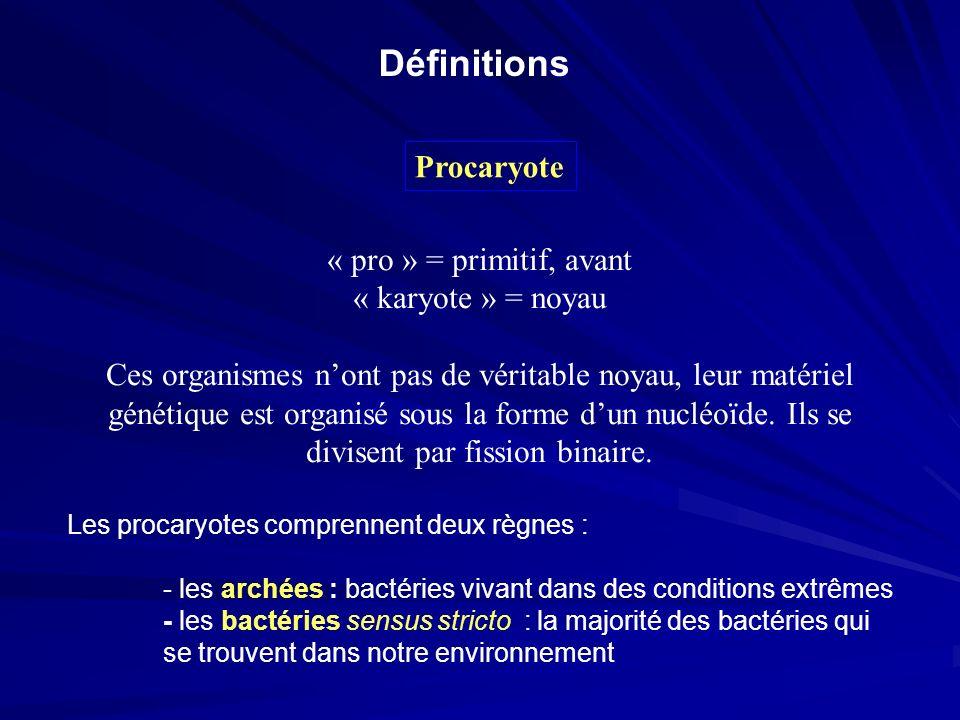 Procaryote « pro » = primitif, avant « karyote » = noyau Ces organismes nont pas de véritable noyau, leur matériel génétique est organisé sous la form