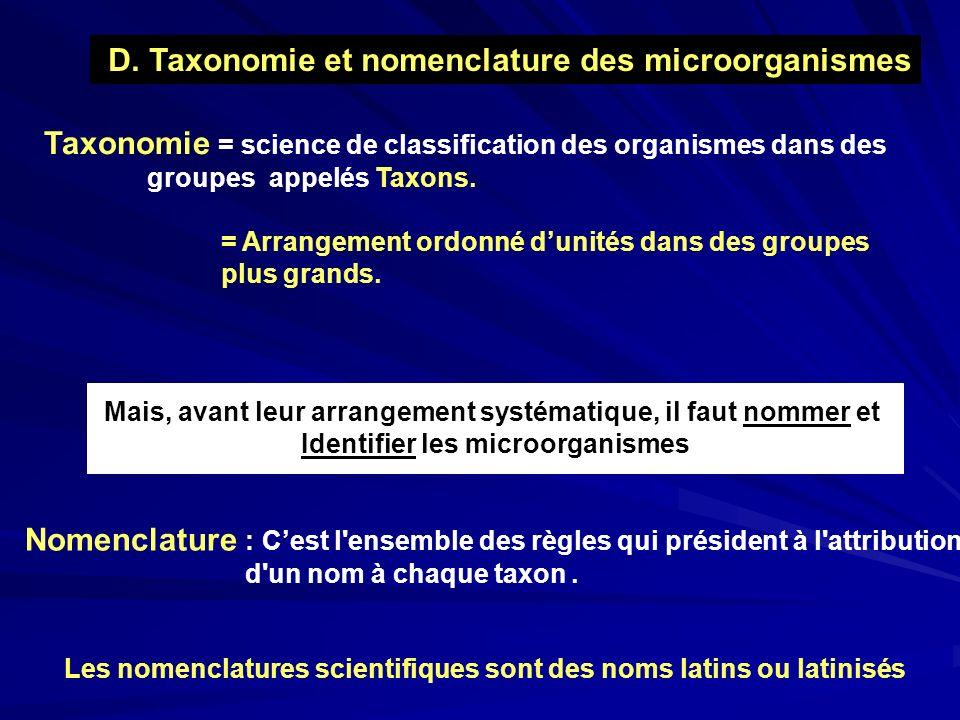 D. Taxonomie et nomenclature des microorganismes Taxonomie = science de classification des organismes dans des groupes appelés Taxons. = Arrangement o