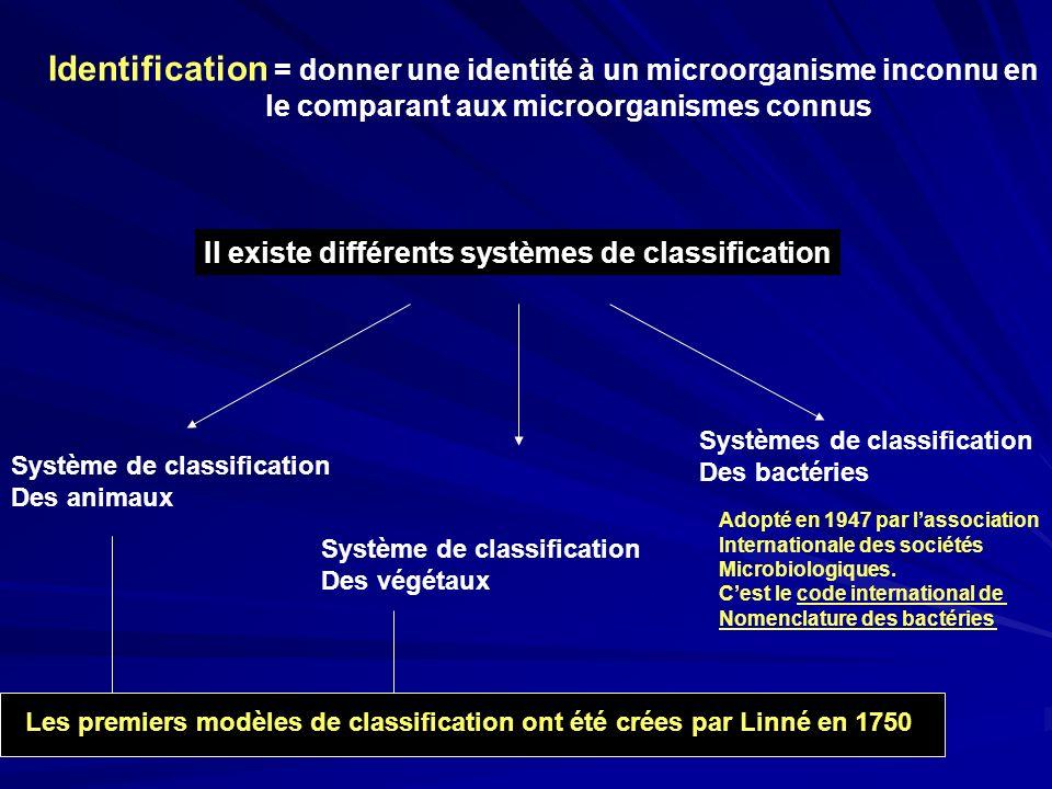 Identification = donner une identité à un microorganisme inconnu en le comparant aux microorganismes connus Il existe différents systèmes de classific