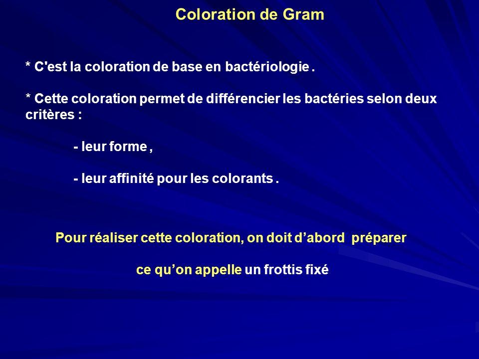 Coloration de Gram * C'est la coloration de base en bactériologie. * Cette coloration permet de différencier les bactéries selon deux critères : - leu