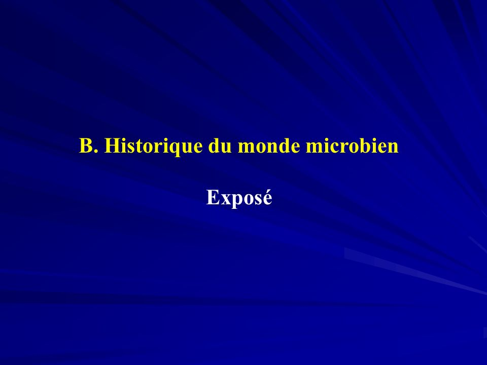 B. Historique du monde microbien Exposé
