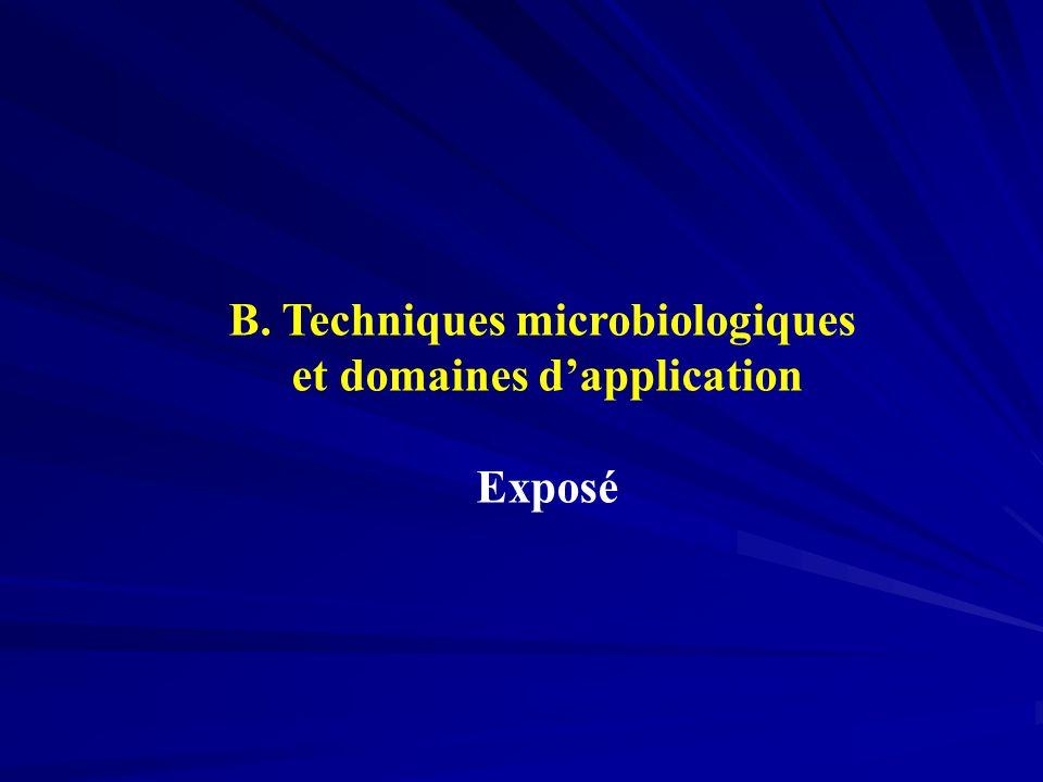 B. Techniques microbiologiques et domaines dapplication Exposé