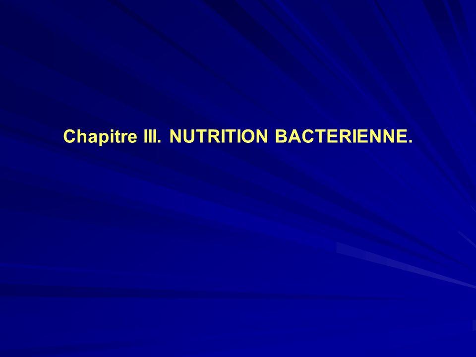 Chapitre III. NUTRITION BACTERIENNE.