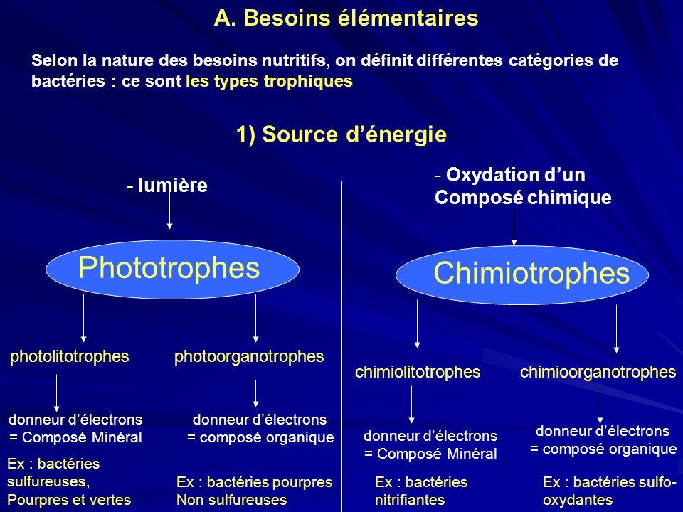 Selon la nature des besoins nutritifs, on définit différentes catégories de bactéries : ce sont les types trophiques 1) Source dénergie - lumière - Ox