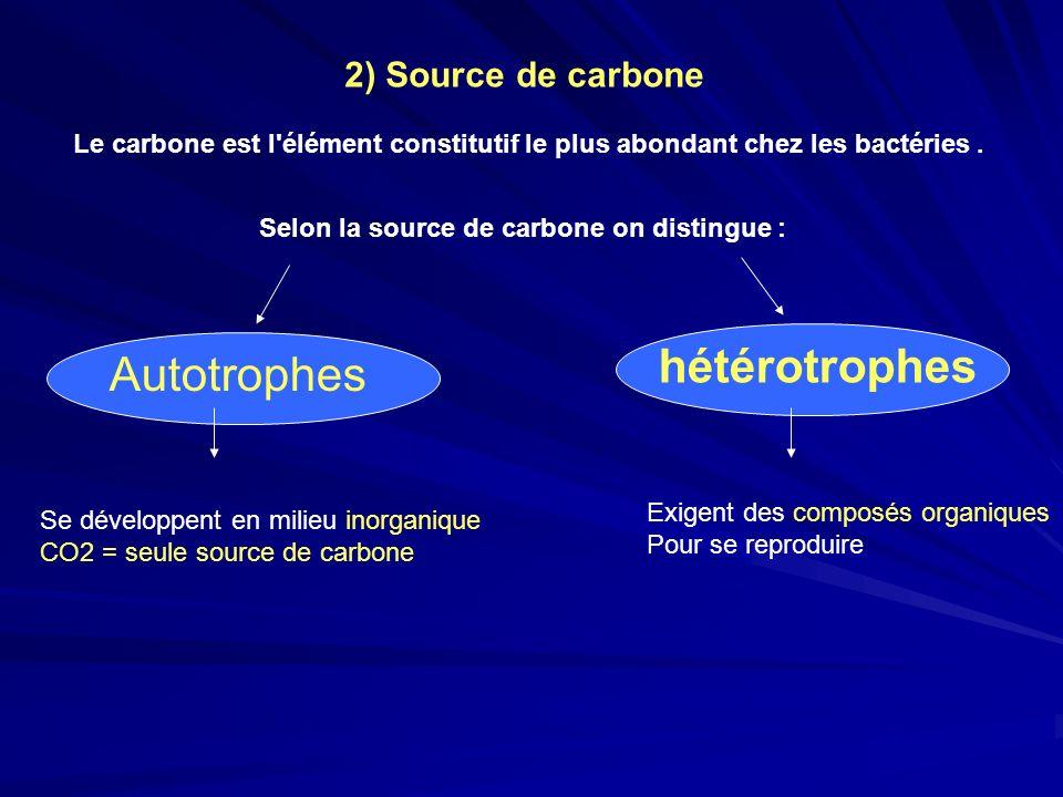 2) Source de carbone Le carbone est l'élément constitutif le plus abondant chez les bactéries. Selon la source de carbone on distingue : Autotrophes h