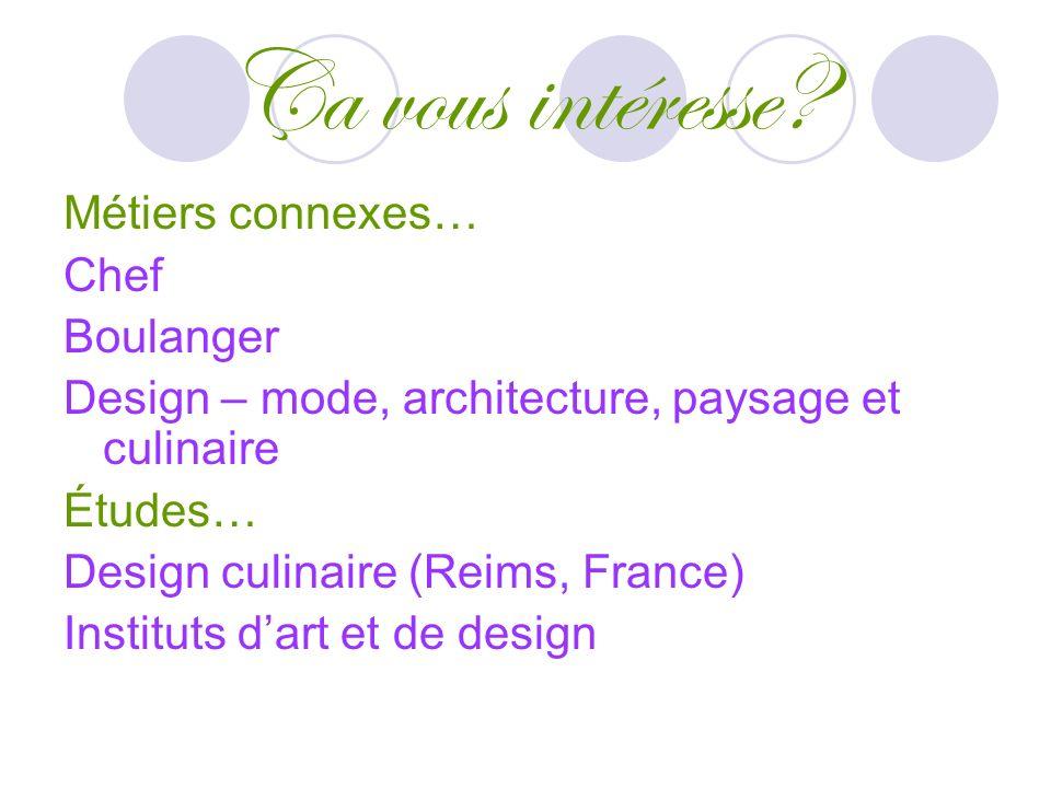 Ça vous intéresse? Métiers connexes… Chef Boulanger Design – mode, architecture, paysage et culinaire Études… Design culinaire (Reims, France) Institu