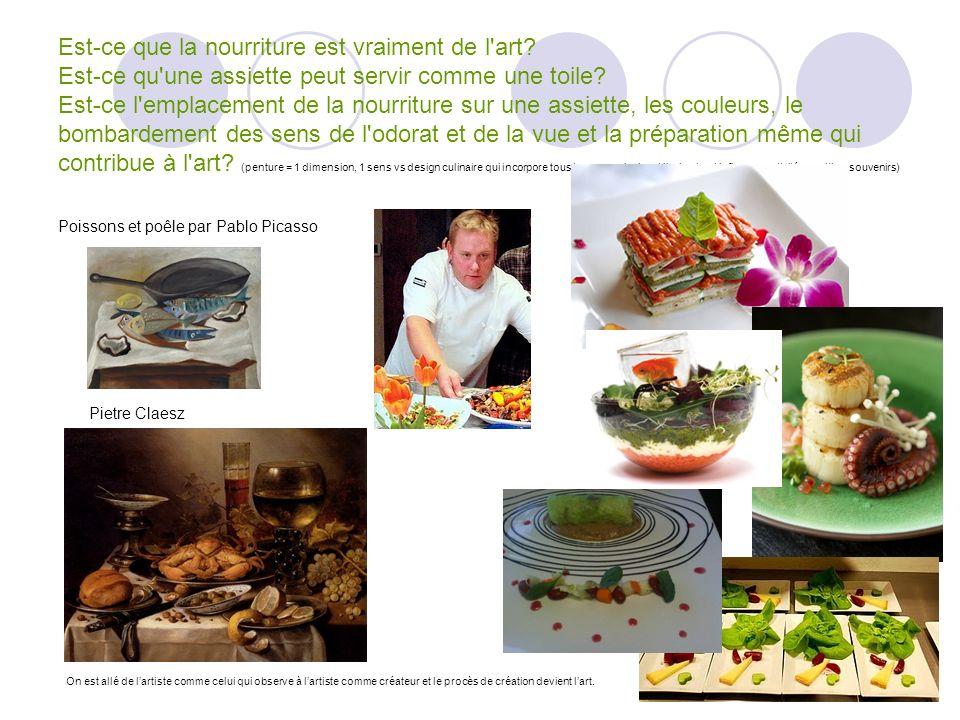 Est-ce que la nourriture est vraiment de l'art? Est-ce qu'une assiette peut servir comme une toile? Est-ce l'emplacement de la nourriture sur une assi