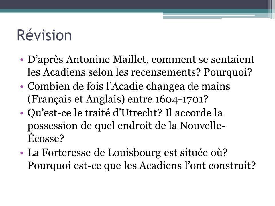 Révision Daprès Antonine Maillet, comment se sentaient les Acadiens selon les recensements? Pourquoi? Combien de fois lAcadie changea de mains (França