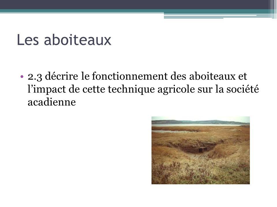 Les aboiteaux 2.3 décrire le fonctionnement des aboiteaux et limpact de cette technique agricole sur la société acadienne