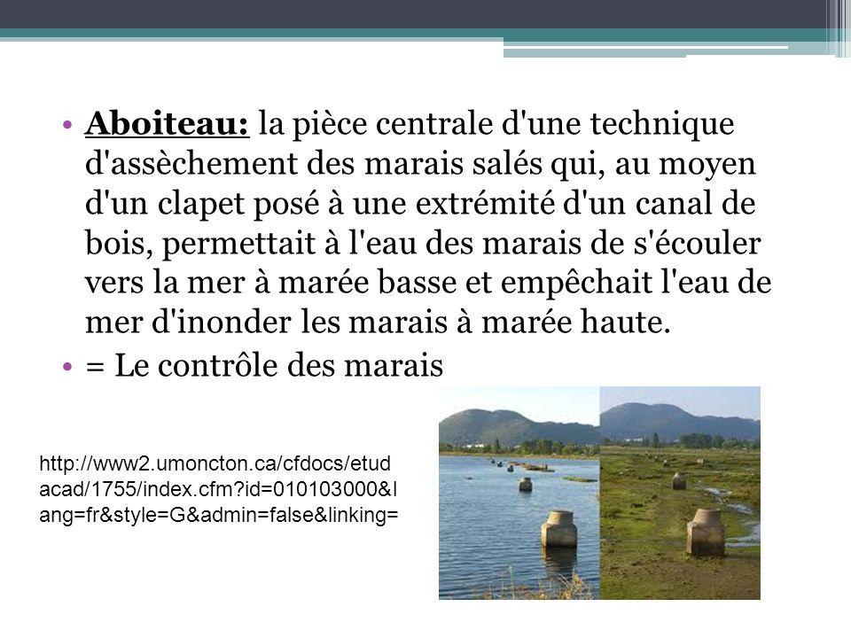 Aboiteau: la pièce centrale d'une technique d'assèchement des marais salés qui, au moyen d'un clapet posé à une extrémité d'un canal de bois, permetta