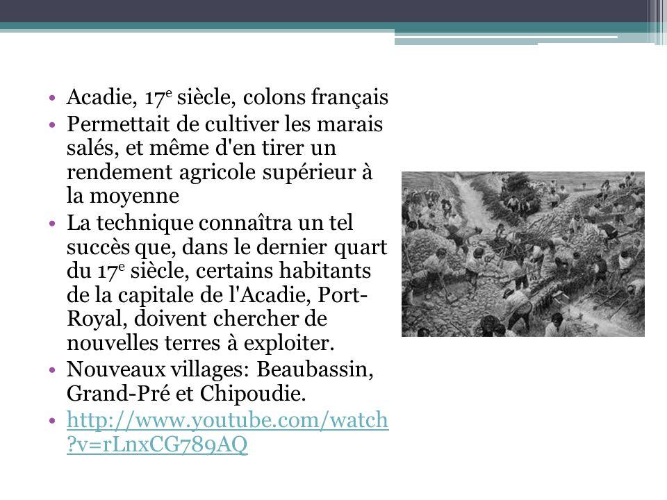 Acadie, 17 e siècle, colons français Permettait de cultiver les marais salés, et même d'en tirer un rendement agricole supérieur à la moyenne La techn