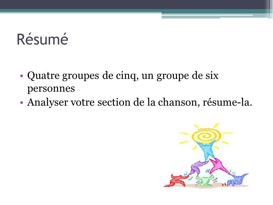 Résumé Quatre groupes de cinq, un groupe de six personnes Analyser votre section de la chanson, résume-la.