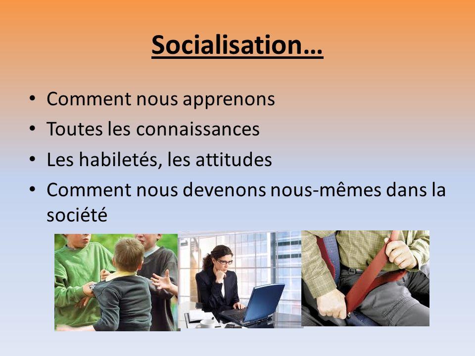 Socialisation… Comment nous apprenons Toutes les connaissances Les habiletés, les attitudes Comment nous devenons nous-mêmes dans la société