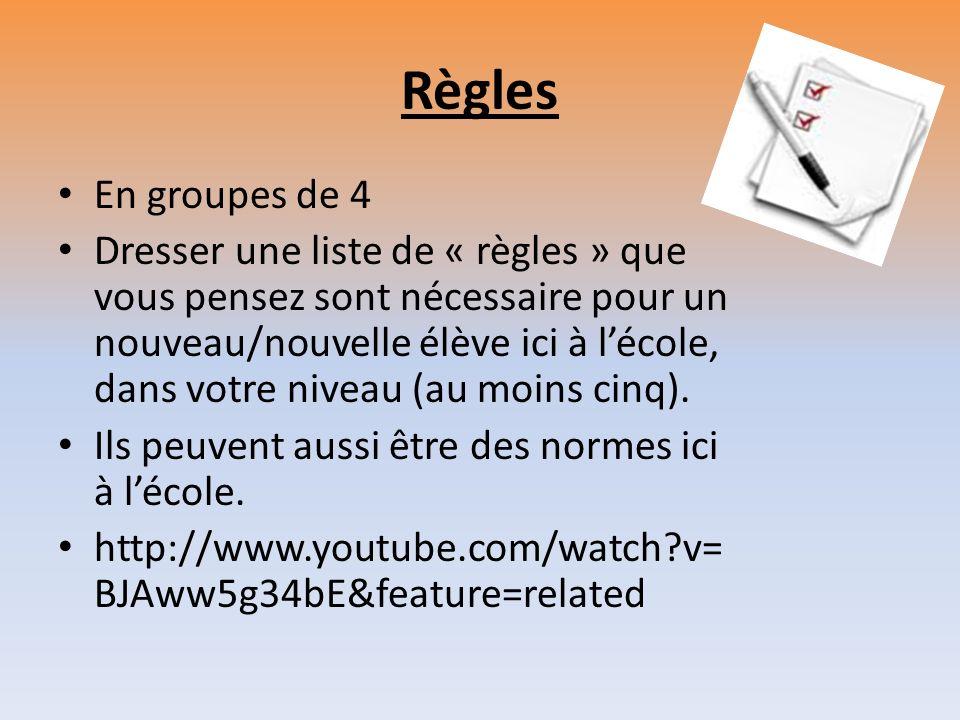 Règles En groupes de 4 Dresser une liste de « règles » que vous pensez sont nécessaire pour un nouveau/nouvelle élève ici à lécole, dans votre niveau