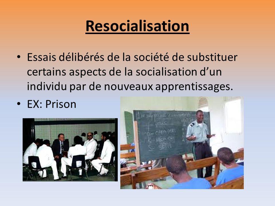 Resocialisation Essais délibérés de la société de substituer certains aspects de la socialisation dun individu par de nouveaux apprentissages. EX: Pri
