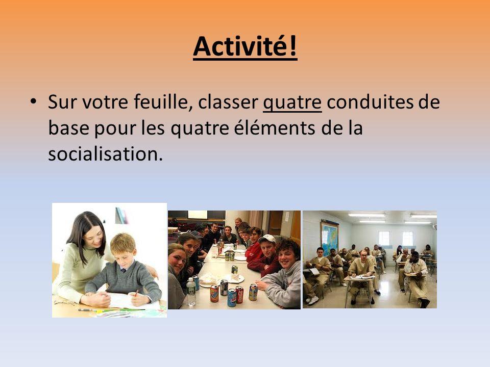 Activité! Sur votre feuille, classer quatre conduites de base pour les quatre éléments de la socialisation.