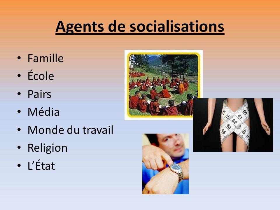 Agents de socialisations Famille École Pairs Média Monde du travail Religion LÉtat
