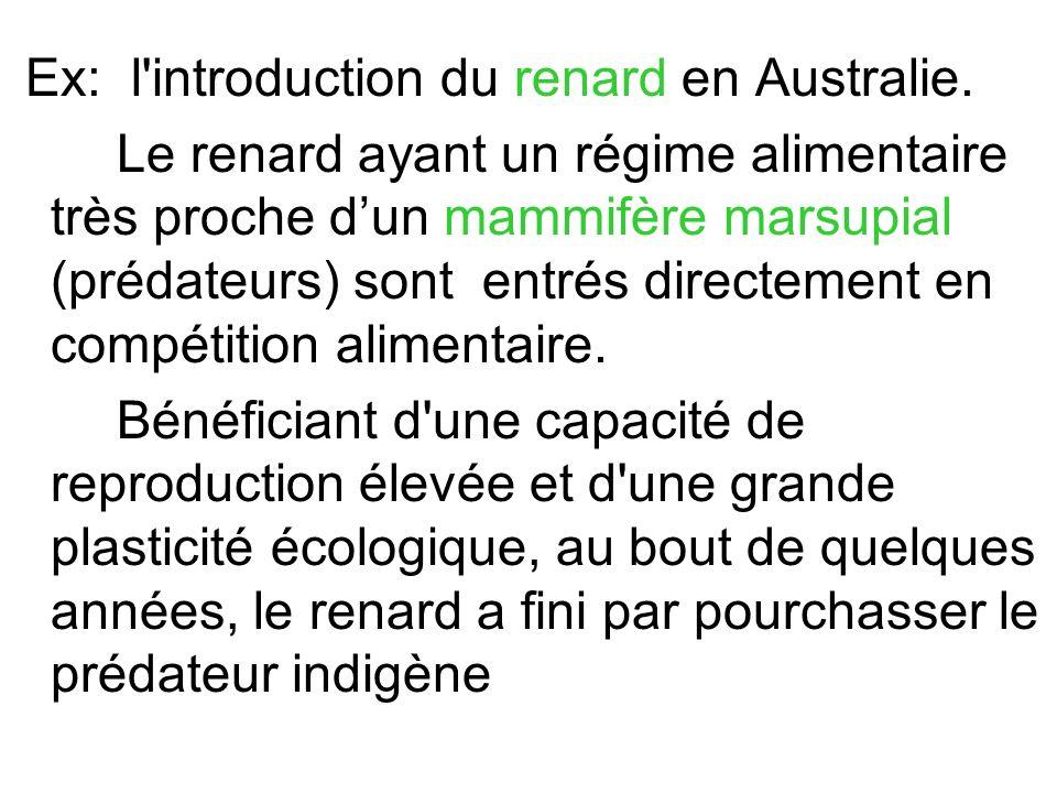 Ex: l'introduction du renard en Australie. Le renard ayant un régime alimentaire très proche dun mammifère marsupial (prédateurs) sont entrés directem