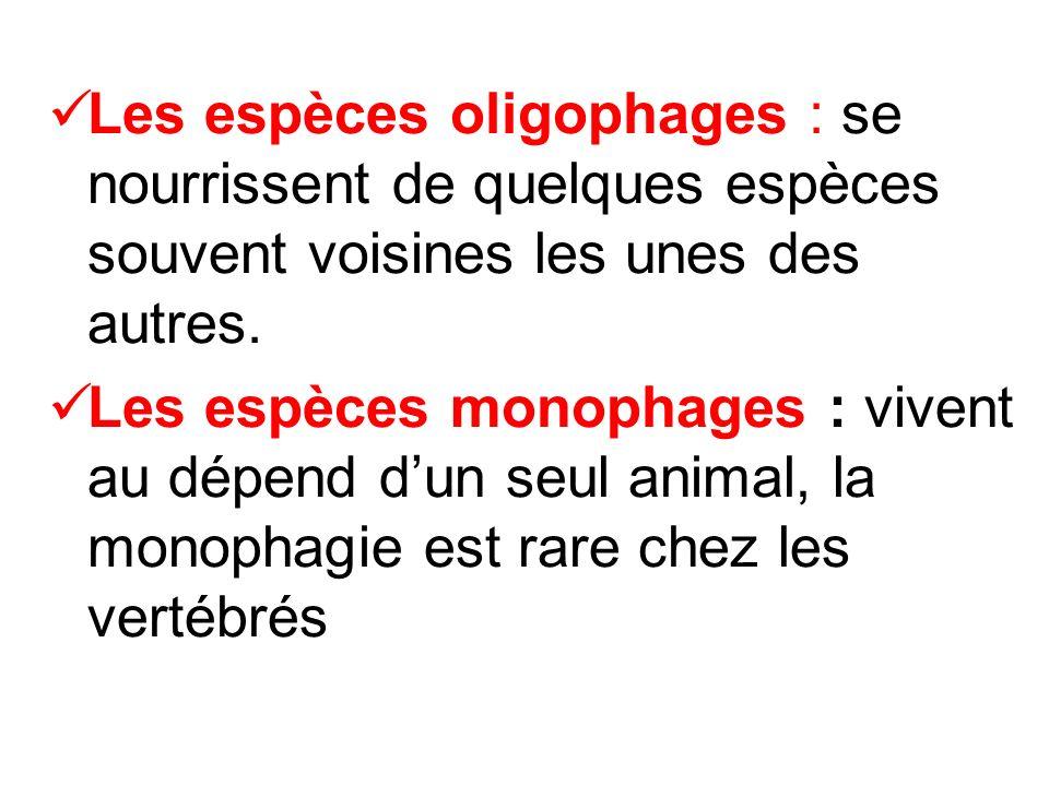 Les espèces oligophages : se nourrissent de quelques espèces souvent voisines les unes des autres. Les espèces monophages : vivent au dépend dun seul