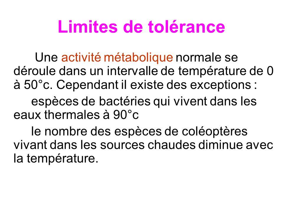 Limites de tolérance Une activité métabolique normale se déroule dans un intervalle de température de 0 à 50°c. Cependant il existe des exceptions : e