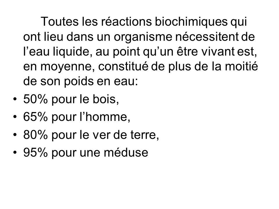 Toutes les réactions biochimiques qui ont lieu dans un organisme nécessitent de leau liquide, au point quun être vivant est, en moyenne, constitué de